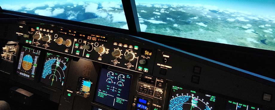 Fullskalig Airbus A320 simulator med 180 graders vy